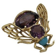 Vintage Signed 'PANETTA' Purple Crystal Bumble Bee Brooch