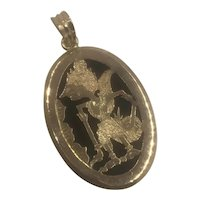 14K Gold & Carnelian Pendant hallmarked