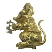 14K Gold Mouse Eating Swiss Cheese Brooch
