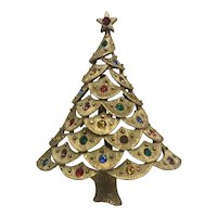 Vintage JJ Christmas Tree Brooch with Accent Rhinestones Mint