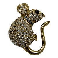Adorable Crystal Studded Mouse Brooch hallmarked Joan Rivers