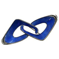 Sterling Silver and Blue Enameled  Norwegian Brooch hallmarked