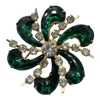 Vintage Christmas Green Crystal Flower Brooch 1960's