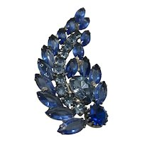 Vintage Weiss Blue Rhinestone Brooch hallmarked