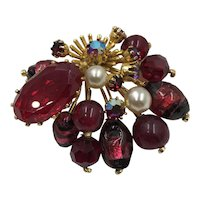 Vintage Austrian Crystal & Blown Glass Red Brooch hallmarked