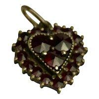 Vintage Bohemian Garnet Heart Shaped Pendant