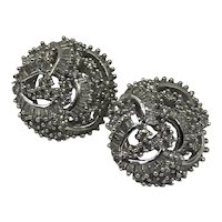 Vintage 14K White Gold &  Pave Diamond Earrings