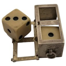 Vintage Sterling Silver Bakelite Dice and Dice Holder
