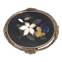 Antique Victorian  Pietra Dura Floral Motif Framed in 14K Gold Setting  Brooch dated 1857