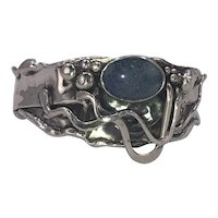 Sterling Silver  & Opal   Hand Wrought Cuff hallmarked 'MARKCZ'