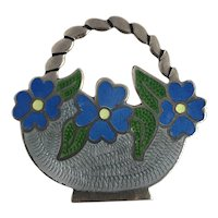Vintage Mexican Sterling Silver & Enameled 'Basket of Flowers' Brooch Early Eagle Assay
