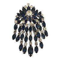 Stunning Vintage Kramer Blue and Clear Rhinestone  Brooch Hallmarked 'Kramer of New York'
