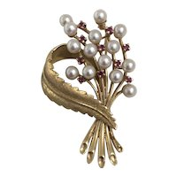 Vintage Ruby and Pearl 14K gold  Brooch