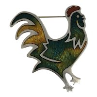 Taxco Mexico  1950's Sterling Silver & Enameled Rooster Hallmarked JS Eagle Assay