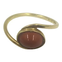 Vintage  Red Coral 18K Gold Ring Hallmarked