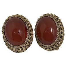 Vintage Chinese Carnelian Clip On Earrings