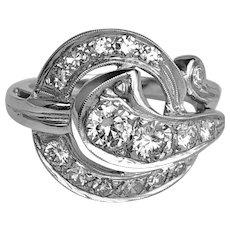 Stunning 1940's Diamond & 14K White Gold Ring Size 7
