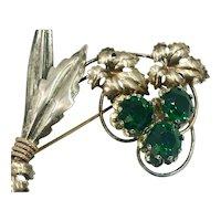 Retro 1940's Green Rhinestone Floral Brooch