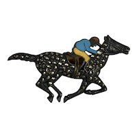 Sterling Silver, Marcasite and Hand Enameled Horse & Rider Brooch Hallmarked