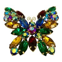 Vintage 1950's Colored Rhinestone Butterfly Brooch Hallmarked Weiss