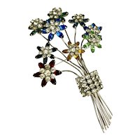 Vintage 1940's Bouquet of Flowers Brooch Hallmarked