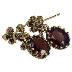 Vintage 14K Gold & Tourmaline Drop Earrings