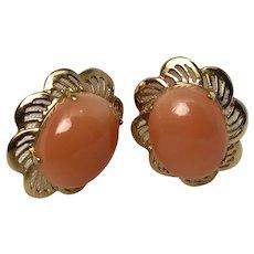 Vintage 14K Gold & Coral Post Earrings