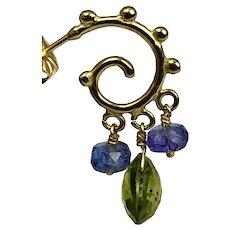 18K Gold Tourmaline and Tanzanite Dangle Earrings
