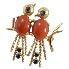 14K Gold Spinel & Coral Lovebirds Brooch