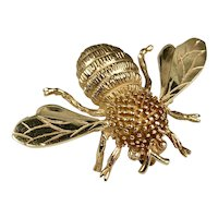 14K Gold Bumble Bee Brooch hallmarked