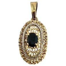 18K Gold & Sapphire Filagree Pendant Hallmarked