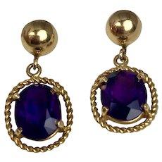 Vintage 14K Gold & Amethyst Drop Earrings