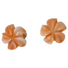 Vintage Carved Angel Skin Coral Stud Earrings