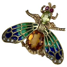 Vintage 14K Gold Ruby, Peridot, Citrine & Enameled Butterfly Brooch