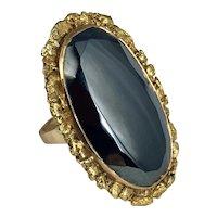 Stunning Hematite  and Gold Ring size 6.75 Hallmarked 'LH'