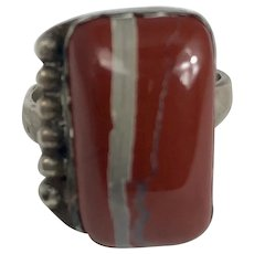 Vintage Sterling Silver Southwestern Banded Agate Ring