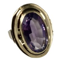 Antique French Amethyst and 8K Gold Ring  hallmarked 333 Size 8