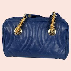 Authentic Vintage FENDI Spiral Pasta Blue Quilted Leather Mini Bag