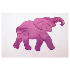 Vintage French Purple Resin Elephant Brooch