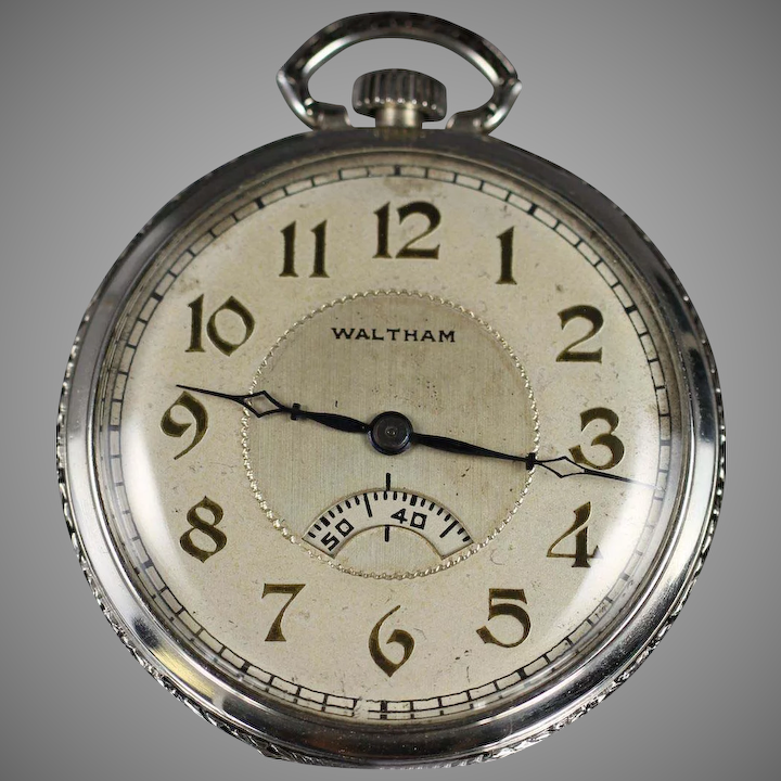 ddde542e4 1927 Waltham Secometer Pocket Watch with Pocket Knife and Chain : Vintage  Watches | Ruby Lane
