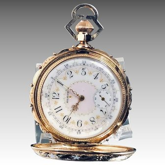 Elgin National Watch Co. 14K Gold, Fancy Dial Pocket Watch, Circa 1883