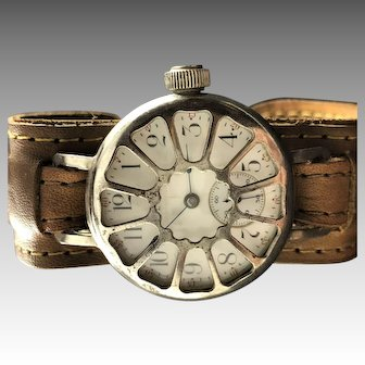 1910 WW1 Elgin Military Trench Watch, with Protective Shrapnel Guard.
