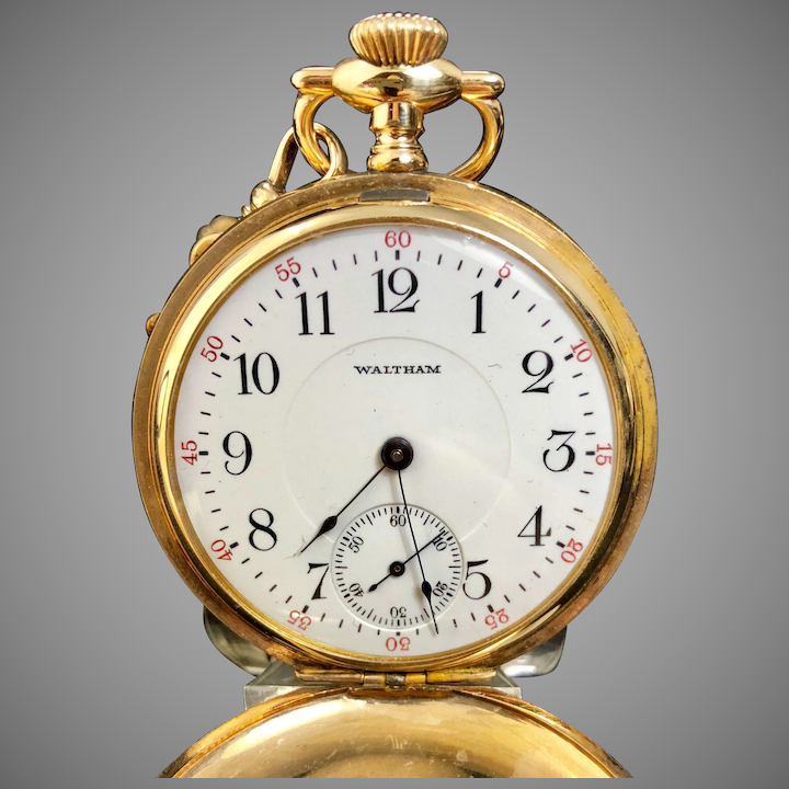 e4e1f463c 1907 Waltham extra fine pocket watch with 12 inch yellow gold chain : Vintage  Watches | Ruby Lane
