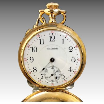 1907 Waltham  extra fine pocket watch with 12 inch yellow gold chain
