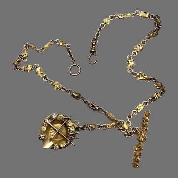 Antique Gold Nugget Watch Chain with Gold Pan FOB
