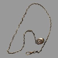 """Antique 16"""" 14k gold filled curb-style link Albert-style pocket watch chain with  fancy clip"""