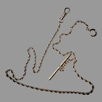 """Antique 12"""" 14k gold filled curb-style link Albert-style pocket watch chain with an open t-bar and clip"""