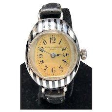1927 John Wanamaker  Parisienne Silver & Enamel Deco Ladies Watch