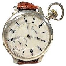 1914 Zenith Grand Prix Sterling Silver Swiss Pocket Watch Conversion