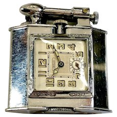 1928 Triangle Lighter with Flip Arm and Excello Watch